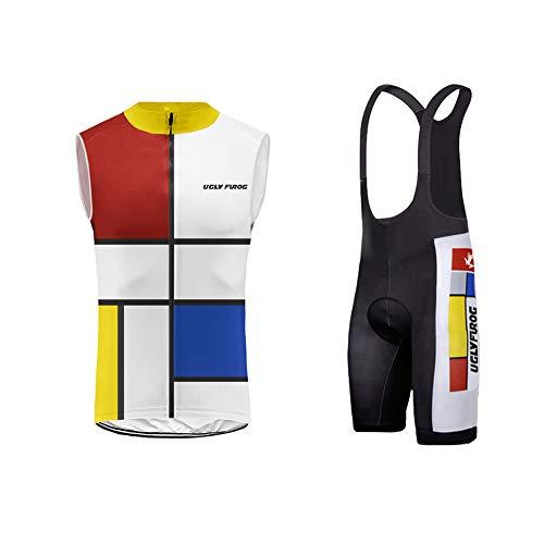 Uglyfrog+ 2019 Neueste Radtrikot Ärmellos Set Vest Anzüge Herren Mode Freizeit Atmungsaktiv Quick-Dry MTB Fahrradbekleidung Trägerhose mit Sitzpolster Radsport Bid Shorts