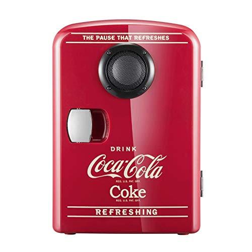 2in1 Mini Kühlschrank Cocá-Colá Bluetooth-Lautsprecher Auto nach Hause Kühlschrank, AC + DC Power Kompatibilität Schlafsaal Student Kosmetik Warm und Warm Box Geschenk 4L ZQG