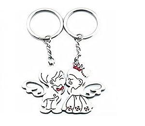 SODIAL(R) Llavero Magnetico de Metal Diseno de Pareja de Angel Besando de SODIAL