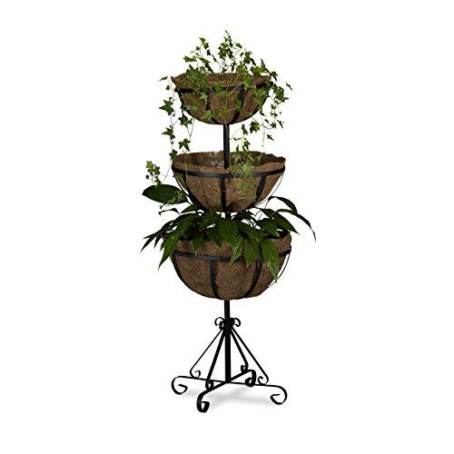 Relaxdays Blumenampel Metall, 3 Ebenen, stehend, Einlagen aus Kokosfasern, H x B x T: 103 x 40 x 40 cm, braun