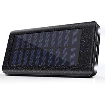 Batterie Externe 24000, Chargeur Solaire Portable Power Bank Quick Charge avec 3 Ports Usb 2 LED