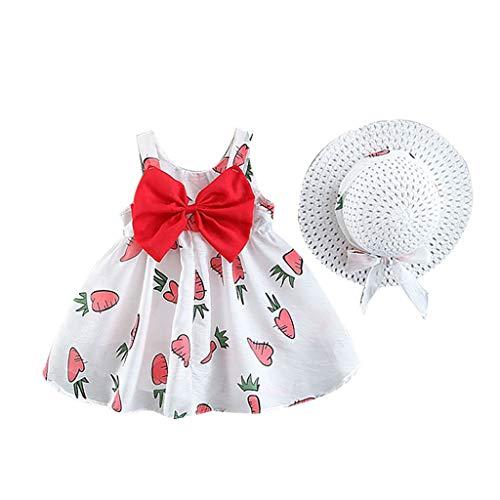 Oikay Kleinkind mädchen Kleid mit Bowknot Baby Kids ärmellose Kirsch Prinzessin Kleider Bow Hut Outfits (Mädchen Kleid Aus Mit)