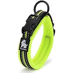 Rantow Cuello de perro fuerte transpirable Collar de perro de seguridad ajustable cómodo para perros pequeños / medianos / grandes (verde) (S 35-40cm)