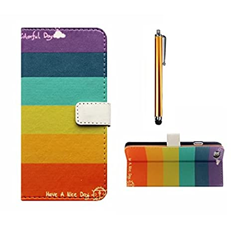 MUTOUREN Samsung Galaxy Ace 4 G357 Wallet Case Embossed Premium PU Leather Magnetic Flip Wallet Cover with Detachable Hand Strap & Card Slots & Stand Function+ gold stylus accessories pen-colorful stripes