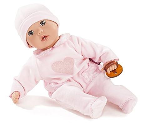 Götz 1620116 Muffin Hearts - 33 cm große Weichkörperpuppe mit blauen Schlafaugen und ohne Haare - 4-teiliges Set bestehend aus der Bekleidung und dem Schnuller - geeignet für Kinder ab 18 Monaten