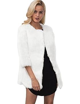 iBaste Medio-lungo Cappotto Donna Pelliccia Sintetica Elegante Collare Rotondo Giacca Autunno e Inverno 3/4 Manica