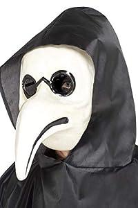 Smiffys-45036 Auténtica máscara de Doctor de la Peste Veneciana, Color Blanco, No es Applicable (Smiffy