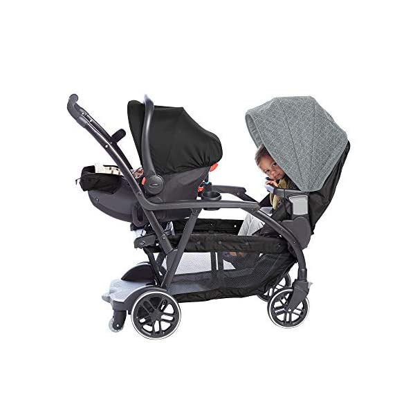 Graco Modes Duo Tandem Pushchair, Shift Graco 27 riding options for 2 children from infant to toddler; click connect attaches with all graco snug ride/essentials infant car seats. suitable from birth to 13kg (approx. 3 years) Two removable, multi-position reclining seats can be positioned rear or forward facing; the built-in bench seat gives your big kid a place to rest; both front and rear seats hold up to 15kgs One-hand standing fold, folds with seats on or off; locking front swivel wheels for superior manoeuvrability; one-step brakes make stopping, and going again, quick and easy 7