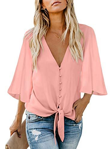 Asvivid Damen Bluse mit Knöpfen, V-Ausschnitt, Rüschen, Flügelärmel, Chiffon, Krawatte, Knoten, Casual Sommerhemd, Tops, Größe 39-50 Gr. (36-38) M, 5-pink -