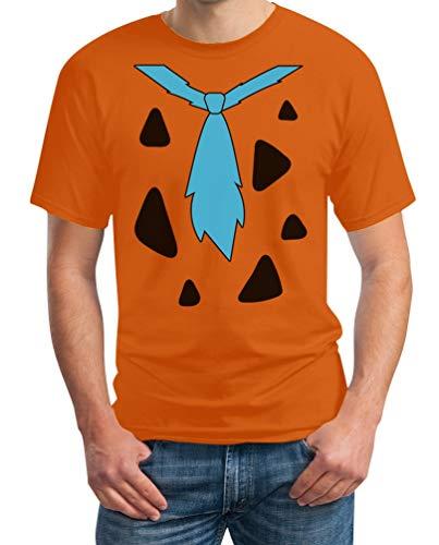 Fred Feuerstein Fan Kostüm für Fasching & Karneval Herren T-Shirt Large Orange