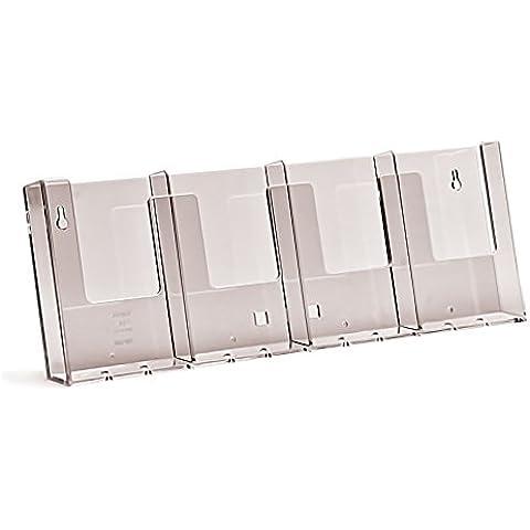 Taymar Brochure Holders - Espositore per brochure, da parete, 4 scomparti in verticale - A4 Verticale Parete