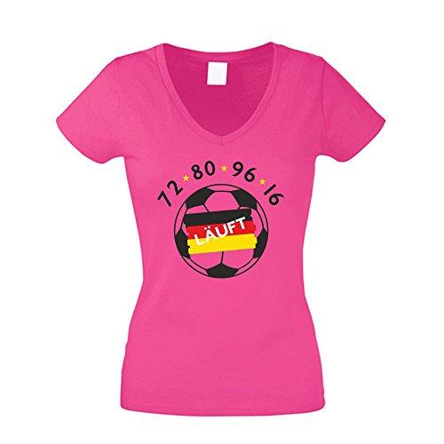 Damen T-Shirt V-Neck - Euro 2016 - Deutschland - von SHIRT DEPARTMENT weiss-schwarz