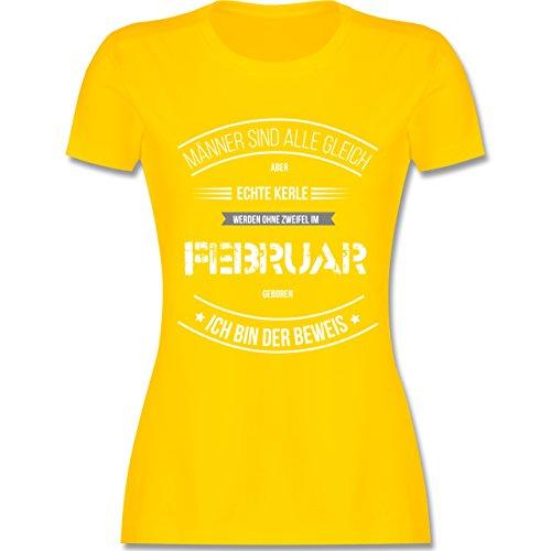 Shirtracer Geburtstag - Echte Kerle Werden IM Februar Geboren - Damen T-Shirt Rundhals Gelb