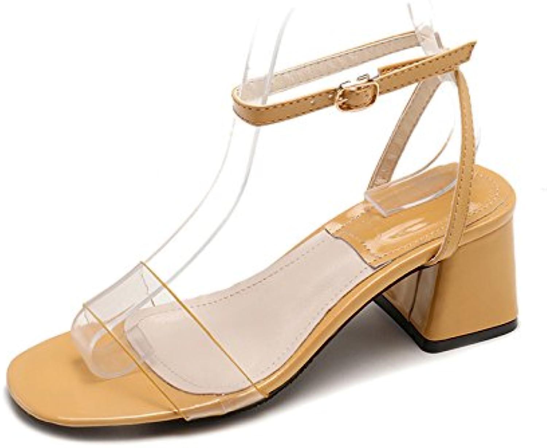 YMFIE Moda estiva da donna semplice e comoda punta aperta aperta aperta trasparente con sandali tacco spesso, 38 EU, giallo | vendita di liquidazione  | Gentiluomo/Signora Scarpa  c0bc54