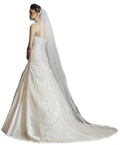 Schleier Webkante Brautschleier 1 Lage SOFT 360 cm 1-lagig Hochzeit Braut Lang Kathedrale (Ivory)