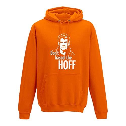 David Knight Rider Kostüm Hasselhoff - Hoodie Don't Hassel The Hoff David Baywatch Freedom 10 Farben Herren XS - 5XL 80er Eighties Kult K.i.t.t. Knight Rider Fun-Shirt, Größe: M, Farbe: orange - Logo Weiss