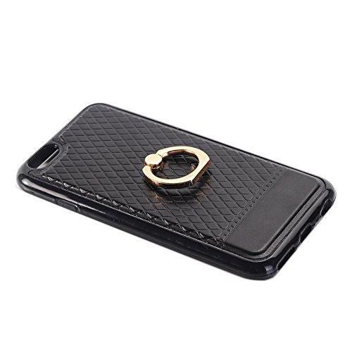 Phone case & Hülle Für IPhone 6 Plus / 6s Plus, Grid Texture PU Paste Haut TPU Schutzhülle mit Ring Halter ( Color : Red ) Black