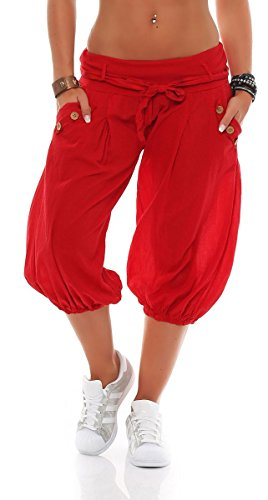 e in Unifarben | lässige Kurze Hose | Bermuda für den Strand | Haremshose - Pants 3416 (rot) ()