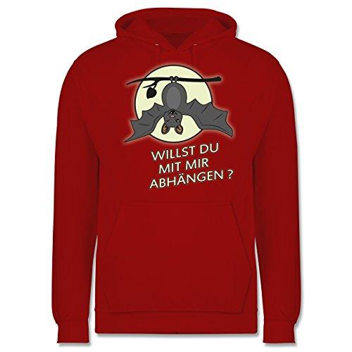 Sprüche - Fledermaus - willst du mit mir abhängen ? - Männer Premium Kapuzenpullover / Hoodie Rot