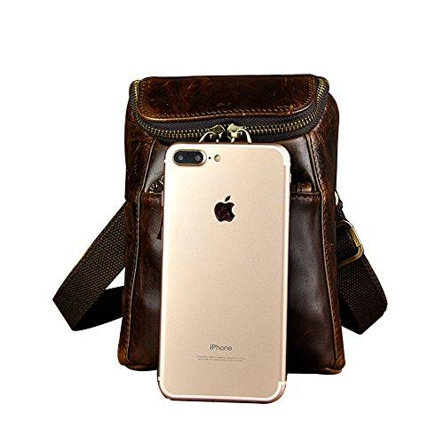 Genda 2Archer Bolso de Hombro de los Hombres de Cuero, Bolso de la Cintura del Teléfono Celular (Café)