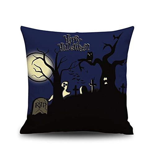 FASTCX Halloween Kürbisszene Thema Leinen Kissen Kreative Geschenk Büro zu Hause Kissen Kissen Kissenbezug 9 45x45cm ohne Kissen