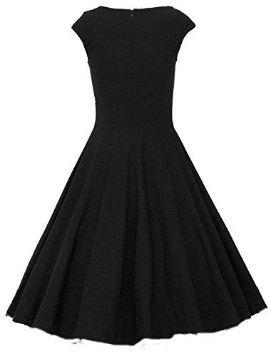 IMUYI Les années 1950 des femmes Retro Party Vintage mancherons Swing Dress Noir