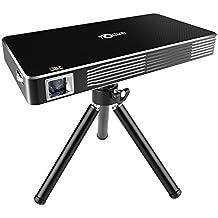 LESHP Mini Proyector Portátil DLP LED Inalámbrico 1080p HD (WIfi, Bluetooth 4.0, batería recargable incorporada del litio, con trípode, entradas HDMI / USB / Micro SD/ audio 3,5mm) Home Cinema, Color Negro