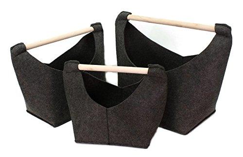 Bada Bing Aufbewahrungskorb mit Holzgriff Kaminholztasche Zeitungsständer anthrazit dunkelgrau Tasche Korb dunkelgrau (Klein)