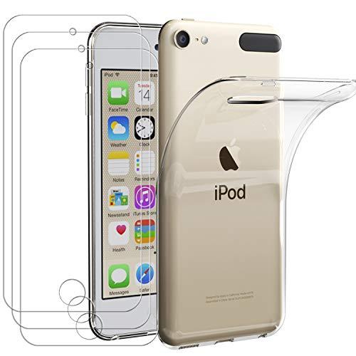 Ivoler custodia cover per apple ipod touch 7/6 / 5 (7ᵃ, 6ᵃ e 5ᵃ generazione) + 3 pezzi pellicola vetro temperato, ultra sottile morbido tpu trasparente silicone antiurto protettiva case cover