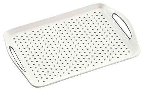 Kesper Non-Slip Serving Tray, Plastic, White, 45.5 x 32 x 4.5 cm