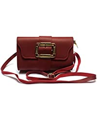 Latest Stylish And Beautiful Red Sling Bag / Hand Bag In Micro Leather With Removable / Adjustable Shoulder Strap...