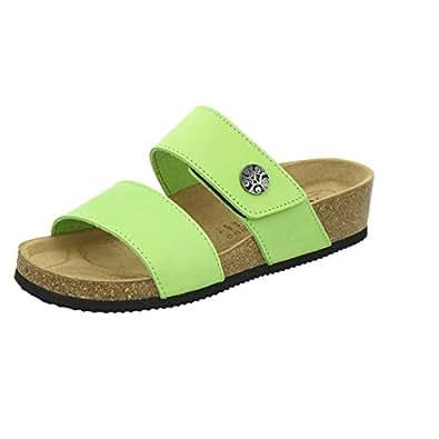 AFS-Schuhe 2745B, Pantolette Damen Komfort, Bequeme Hausschuhe, Hochwertiges. Echtes Leder, Made in Germany Größe 37 Grün (Apfel)
