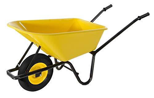 VERDELOOK Carriola in Metallo Nero con Vasca in PVC Giallo, per Trasporto Merce, Fai da Te e Giardinaggio