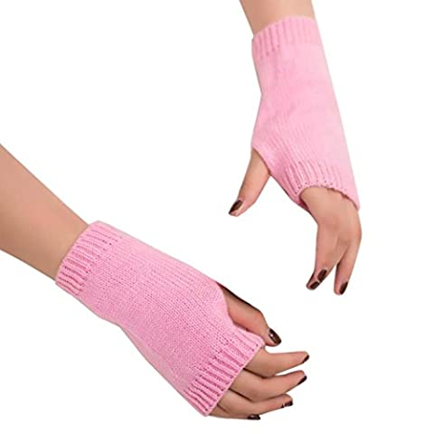 Saingace gloves Frauen Mädchen Strick Arm Fingerlose Warm Winter Handschuhe Soft Warm Handschuh (Rosa)