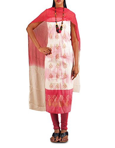 Unnati Silks Women Unstitched White-Pink Pure Handloom Kanchi Cotton Salwar Kameez