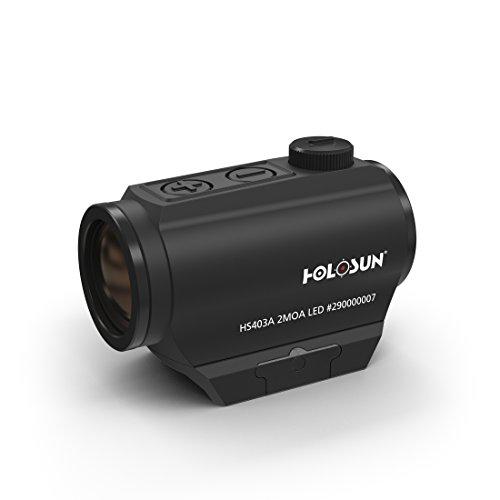 Holosun HS403A Microdot Rotpunkt Visier mit 2MOA Punkt Absehen, Schwarz, Picatinny/Weaver Schiene, für die Jagd, Sportschießen und Softair, Tactical Micro Red Dot Sight - 70127287