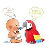 Hztyyier Speak Talking Record Parrot Repeats What You Say Electronic Parrot Plush Bird Toy Gift for Children 7.87*3.54 Inch (Red)