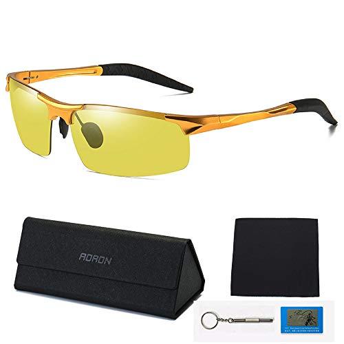 WONICE Nachtsichtbrille   Blendschutz Nachtfahrbrille - HD Ultra Light Metall/Gewidmet Nachtbrille (Gold)