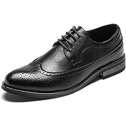 YUNLI Zapatos Oxford Hombre, Brogue Cuero Vestir Cordones Derby Calzado Boda Negocios Negro Marron Azul Rojo Amarillo (Color : Negro, tamaño : 38 EU)
