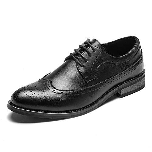 Los zapatos más vendidos de los hombres Oxford Zapatos Oxford Oxford con punta de ala for hombre Top bajo Casual Cordones de microfibra Puntada de cuero Punta puntiaguda Huecos antideslizantes Oxford