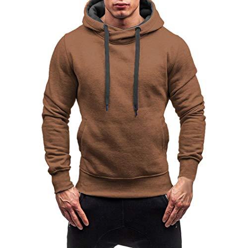 Herren Pullover Kapuzenpullover Casual Hoodie Sweatjacke Basic Langarm Shirt Sweater Sweatshirt Einfarbig Kapuzenjacke Kapuzenshirt Kapuzen-Sweatshirt mit Tasche Kapuze Mantel Outwear Leey
