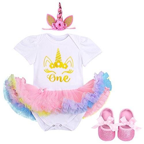 Baby Mädchen 1. Geburtstag Romper Tutu Kleid Set + Einhorn Horn Stirnband / Krone Stirnband + Schuhe Säuglings Prinzessin 3 Stück Outfits Verkleidung Fotoshooting Kostüm 6-12 Monate (Minnie Maus 18 Monate-kostüm)