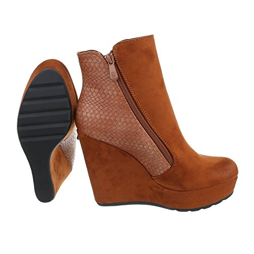 Keilstiefeletten Damenschuhe Plateau Keilabsatz/ Wedge Keilabsatz Reißverschluss Ital-Design Stiefeletten Camel