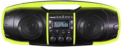 SDigital GB-6000 Nuke Bluetooth Boombox / Ghettoblaster (UKW Radio, MP3, USB, SD, Powerbank, AUX-In, Mikrofonanschluss) matt grau/lime grün Portable Audio-analyzer