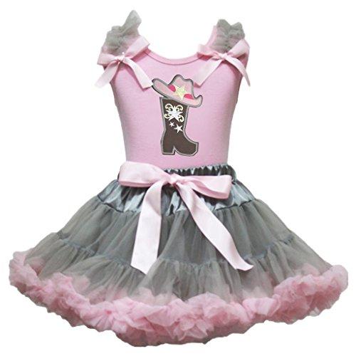 (Cowgirl-Kleid, mit Stiefeln und Hut, Grau/Pink, Outfit-Set, Alter 1-8 Jahre Gr. 6-8 Jahre, Rosa, Grau)