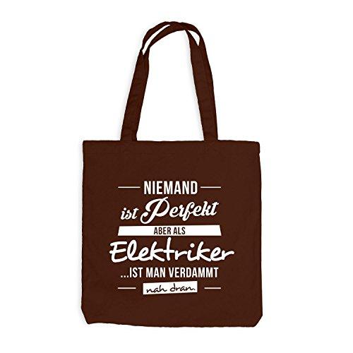 Jutebeutel - Niemand ist perfekt, aber als ELEKTRIKER ist man nah dran. - Job Work Handwerk Chocolate