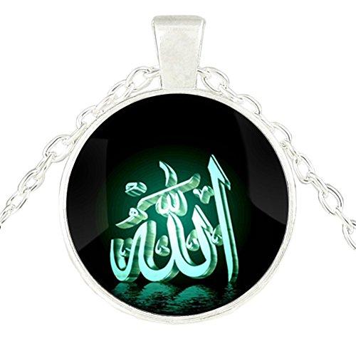 Fengteng Rundform Damen Herren Halskette Islam Symbol Allah Anhänger Grün Schwarz Farbe Glas Zeit Muslim Religiöse Halsschmuck Geschenk (5)