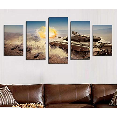 5 Panels Moderne Tank Hd Bild Leinwanddruck Malerei Wandkunst Für Decor Home Schlafzimmer büro Decor Kunstwerk, 40x60 cm x 2 40x80 cm x 2 40x100 cm x 1 -