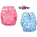 Fig O Honey Reusable New Born Baby Cloth Diapers | Multi-Color Baby Fabric Nappy With Free Absorbent Inserts | Washable And Elastic Printed Modern Cloth Nappies With Insert Liners | ( Pink Pola Dots & Elephant Print Combo )