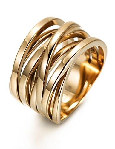 Wistic jewelry Damen Ring Edelstahl vergoldet (14 Karat (585) Gelbgold, 54 (17.2))